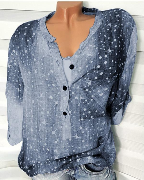 Long Sleeve Pockets Printed Shirts Tops