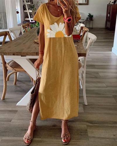 Summer Printed Maxi Dress Crew Neck Women Dresses