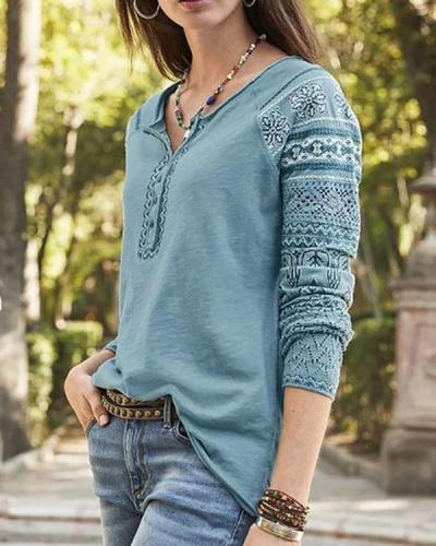 Long Sleeve Cotton V Neck Tops Blouses
