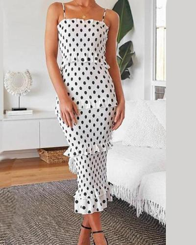 Women's Summer Polka Dot Print Party Midi Dress