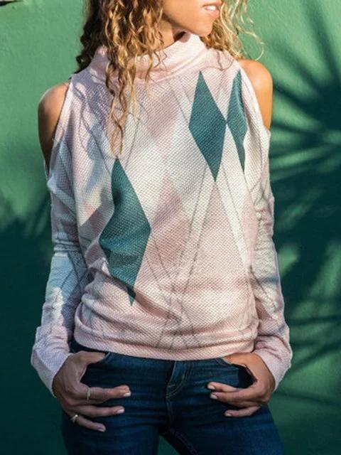 Long Sleeve Cold Shoulder Printed Geometric T-Shirts