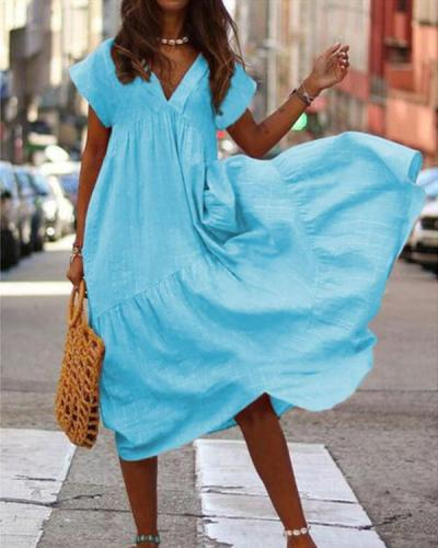 Loose V-Neck Solid Color Short Sleeve Dress