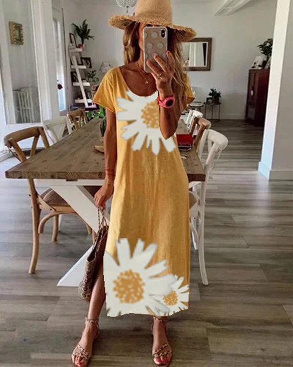Women's Daily Casual Daisy Print Dress