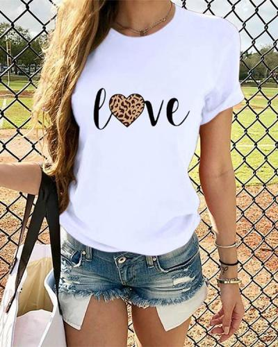 Love Heart  Women Short Sleeve Shirt Printed Leopard Tops