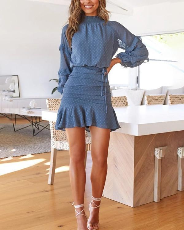 Long Sleeve Printed Mini Dress