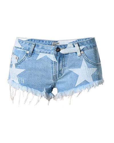 LowWaist Star Printing Denim Shorts Pants