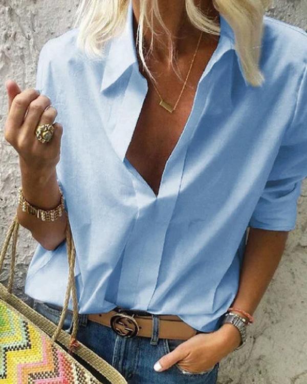 Long Sleeves Shirt Collar Solid Casual Shirts