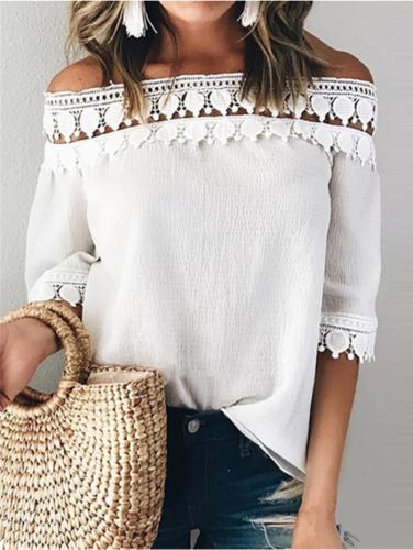 Midi-sleeve Off-shoulder White Elegant Blouses Tops