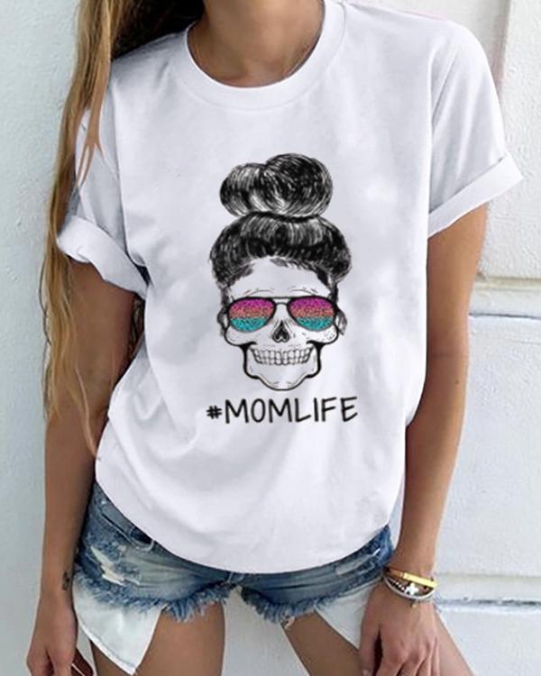 MOMLIFE O neck Short Sleeve T-shirt