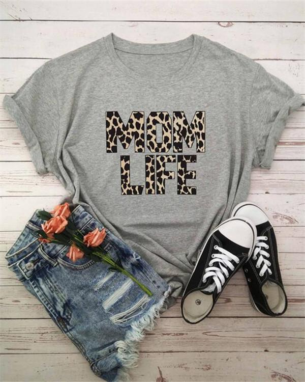 Mom Life Leopard Printed T-Shirt Tee