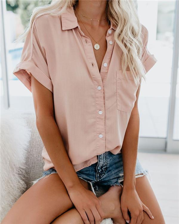 Multi-Color Solid Shorts Loose Casual Holiday Daily Blouse