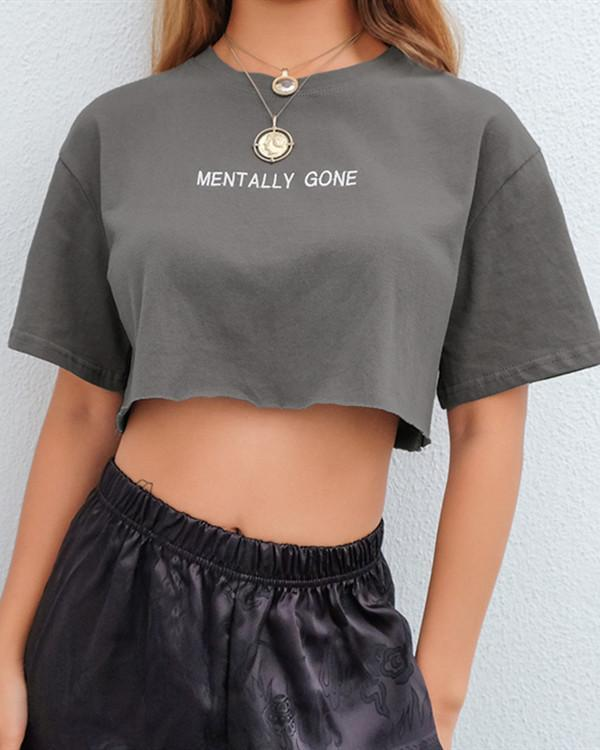 New Simple Wild Letter Embroidery Loose Short Sleeve T-shirt