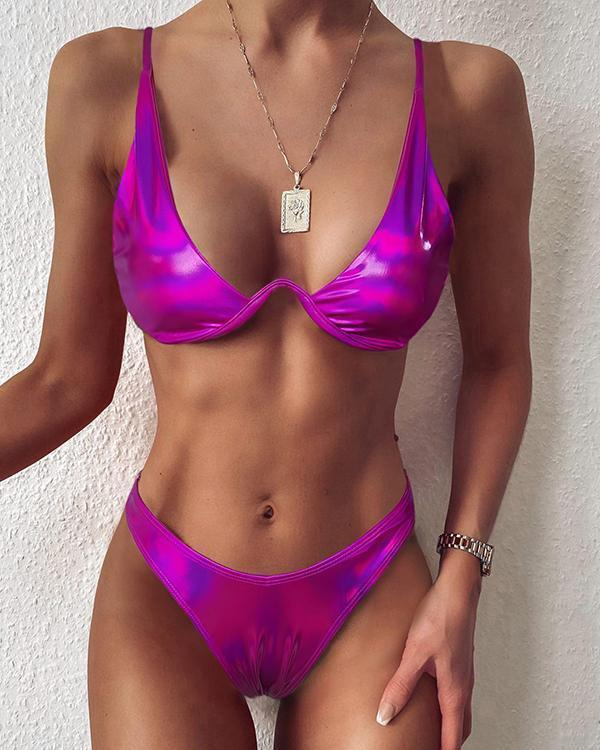 Low Cut Spaghetti Strap Bikini Set