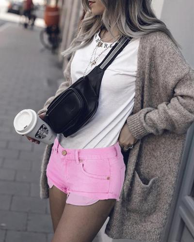 Macaron Pink LowWaist Crimping Jeans Shorts Pants