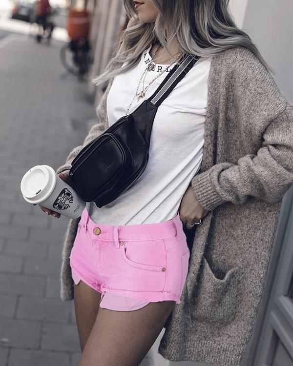 Macaron Pink Low Waist Crimping Jeans Shorts Pants