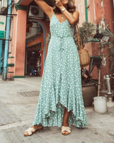 Polka Dot Ruffled Printed Bohemian Dress