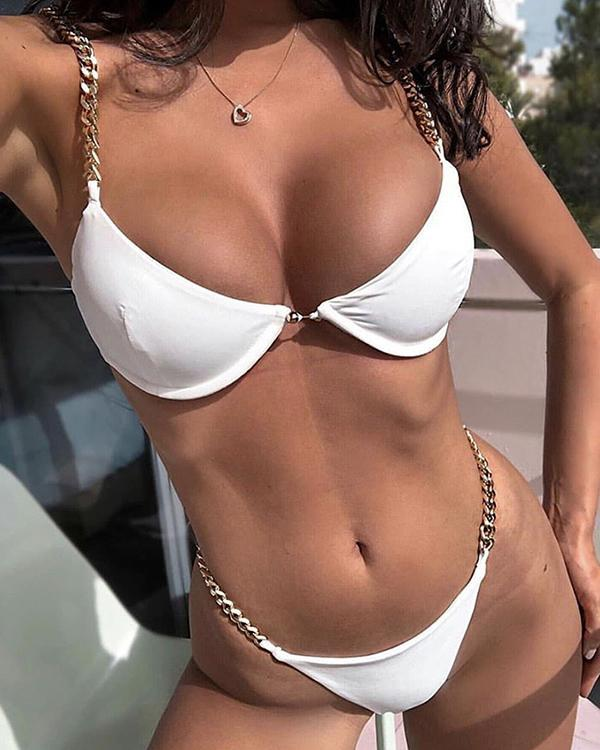 Metal Spaghetti Strap Bikini Sets