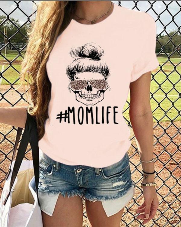 Mom Life Leopard Printed T-Shirt Tee