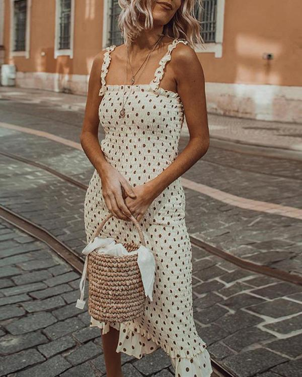 Polka Dot Ruched Shirred Midi Dress with Frill Hem and Straps