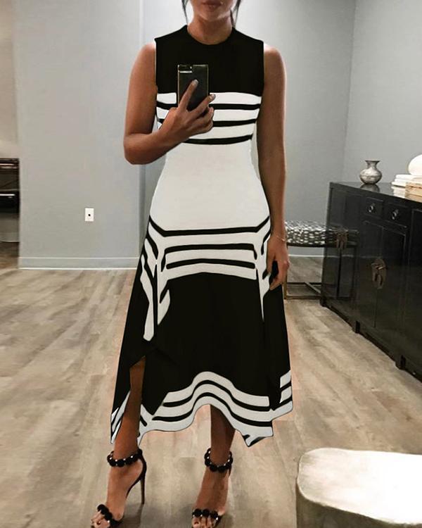 O-Neck Women Summer Dresses Asymmetrical Dresses