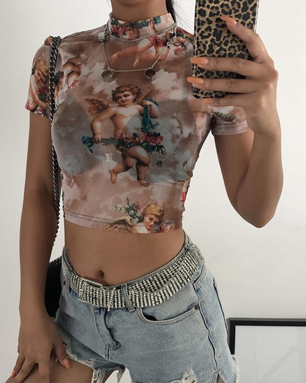 See Through T-Shirt Tee Angel Print Sexy Mesh