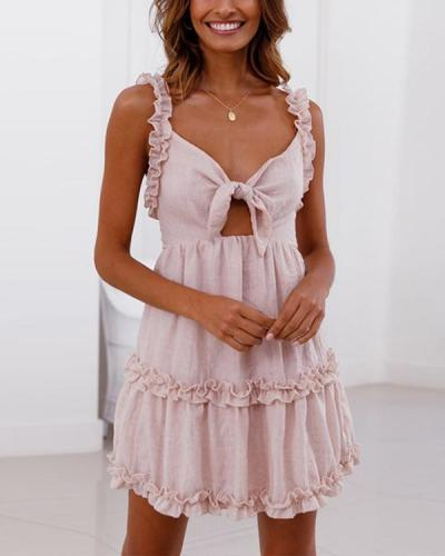 Ruffled Lace-Up Openwork Dress