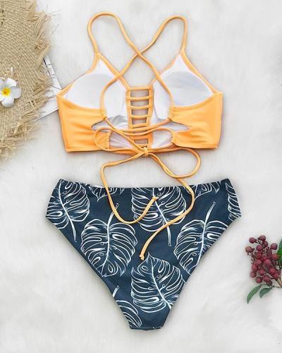 Sexy colorblock multiline strap print split bikini