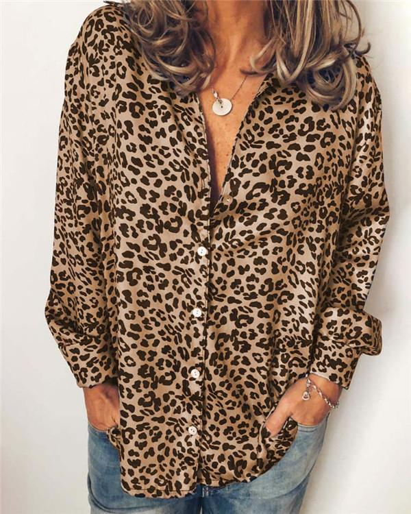 Sexy Leopard Longs Holiday Fall Daily Casual Blouse