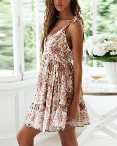 Sexy Lace-up Strap Deep-V Backless Holiday Print Dress