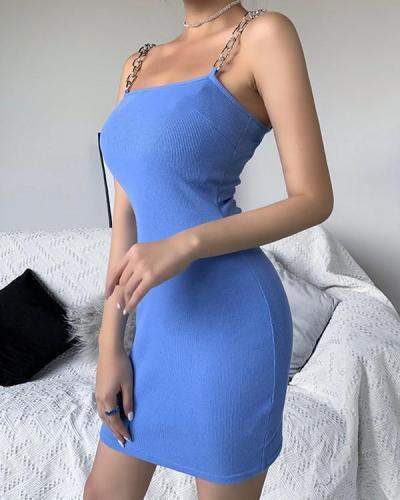 SEXY METAL CHAIN SLING NECKLINE SLIM FIT DRESS