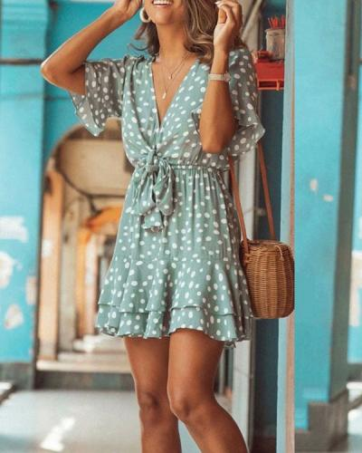 Ruffled Short Sleeve V-neck Polka Dot Lace Up Mini Dress