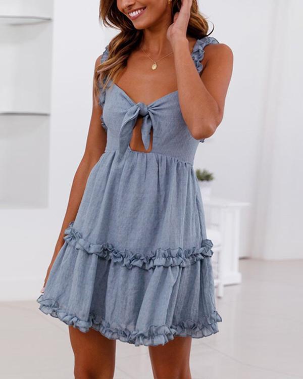 Ruffled Lace-Up Openwork Dress