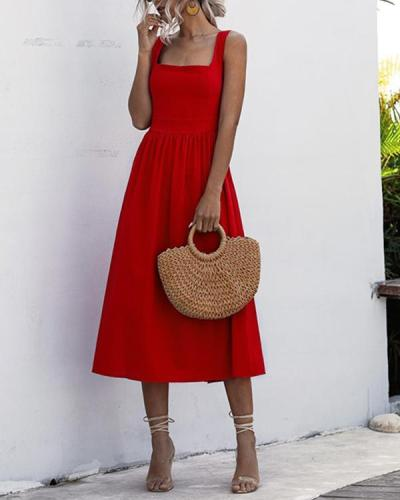 Ruffled Open Back Sleeveless Casual Dress