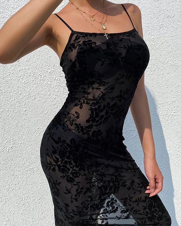 Sexy Mesh Flower Embroidery Spaghetti Strap Slit Dress