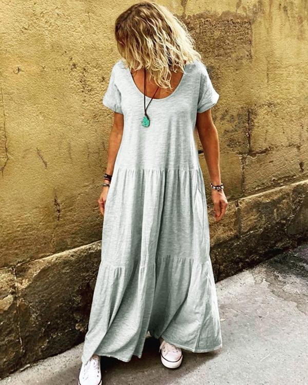 Ruffled Short Sleeve Casual Round Neck Dresses