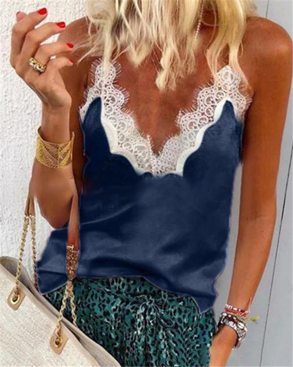 Sexy Lace Neck Vest Tops Holiday Fall Daily Casual Blouse