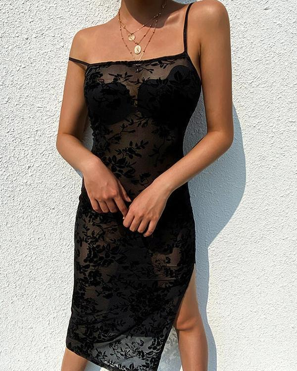 Sexy Mesh Flower Embroidery Spaghetti Strap Slit Dress
