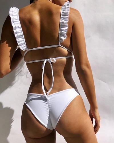 Ruffled Solid Color Bandage Bikini Set