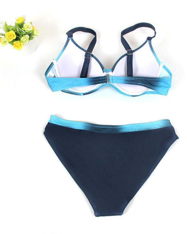Sexy Colorful Stripe Print Swimwear Women Bikini Set