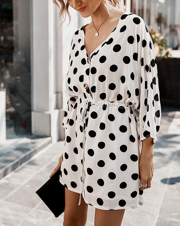 Sexy Button V Neck Straight Half Sleeve Polka Dot Mini Dresses