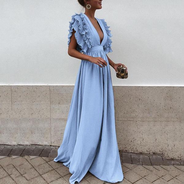 Sexy Gray V Neck Short Sleeves Maxi Dress