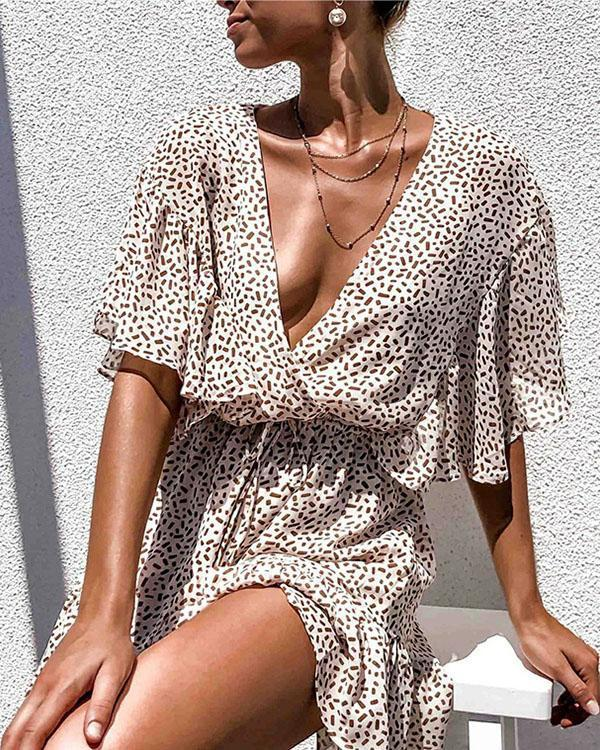 Sexy Elastic Waist Deep V-neck Ruffled Beach Dress