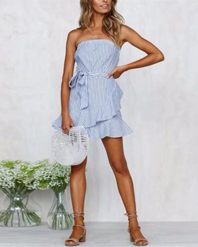Sexy Blue Striped Tube Top with Ruffled Ruffle Dress