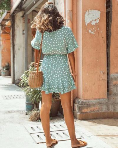 Ruffled Short Sleeve V-neck Polka Dot Lace Up Mini Dress