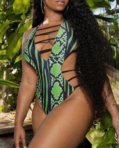 S-5XL Plus Size Snakeskin Print One Piece Swimsuit