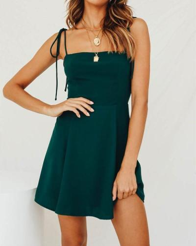 Sexy Elasticated Waist Was Thin Solid Color Suspender Dress
