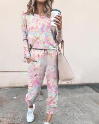 Tie Dye 2 Peice Set Women Elegant Pants Set Casual Outfits Jogger
