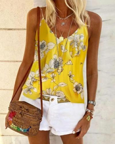 Floral Casual Camisole Sleeveless Blouses