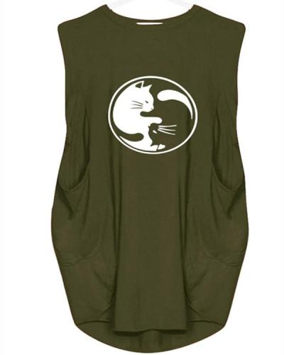 Sleeveless Cat Print Loose Casual Dress For Women