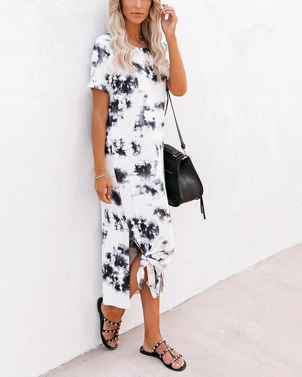 Women Tie Dye Knit Midi Dress